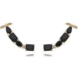 Ear Cuff Preto Dourado Grande com Piercing Semijoia Ouro