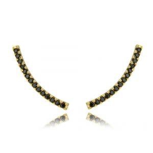 Ear Cuff Preto Palito Cravejado de Zircônias Semijoia Luxo Ouro