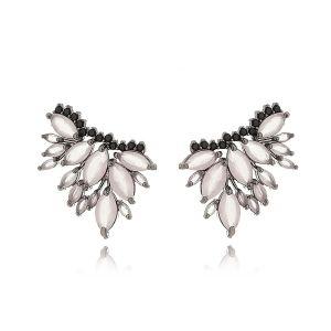 Ear Cuff Quartzo Rosa com Micro Zircônia Preta Semijoia Fashion em Ródio Negro