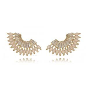 Ear Cuff Quartzo Rosa e Zircônia Cristal Semijoia Luxo Ouro 18K