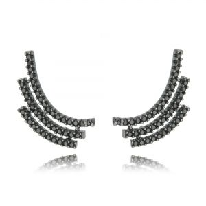 Ear Cuff Ródio Negro Zircônia Preta Semijoia de Luxo