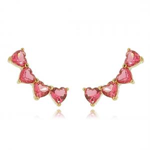 Ear Cuff Segundo Furo Corações Rosa Pink Semijoia em Ouro 18K