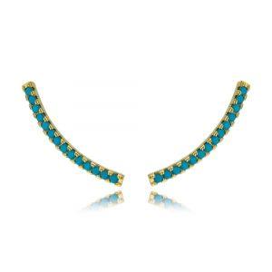 Ear Cuff Turquesa Palito Zircônias Semijoia Fashion Ouro