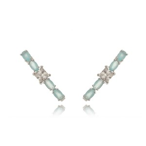 Ear Hook Água Marinha Leitosa e Zircônia Quadrada Cristal Semijoia em Ródio Branco