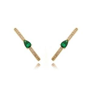 Ear Hook Brinco da Moda Gota Esmeralda e Zircônia Branca Brilhante Semijoia em Ouro 18K