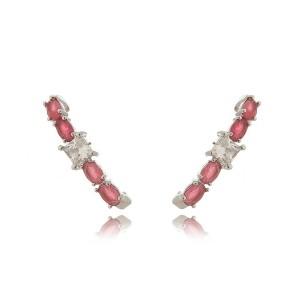 Ear Hook Brinco Rubi Leitoso com Zircônia Quadrada Cristal Semijoia Fina em Ródio Branco