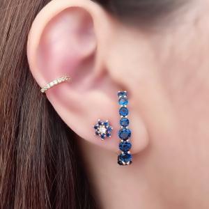 Ear Hook Exclusivo Soloyou Azul Safira Luxo Semijoia Ouro 18K