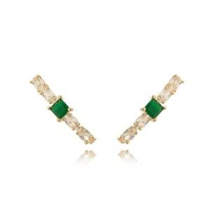 Ear Hook Moda de Zircônia Oval Branca Brilhante e Esmeralda Semijoia em Ouro 18K
