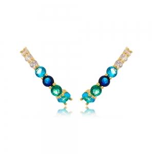 Ear Hook Soloyou Fashion Colorido Semijoia Ouro 18K