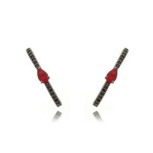 Ear Hook Zircônia Preta e Gota Rubi Semijoia Luxo em Ródio Negro