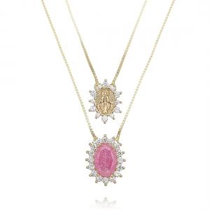 Escapulário de Nossa Senhora das Graças Pedra Fusion Rosa e Zircônia Semijoia Ouro