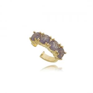 Fake Piercing Pedra Fusion Tanzanita Semijoia em Ouro 18K