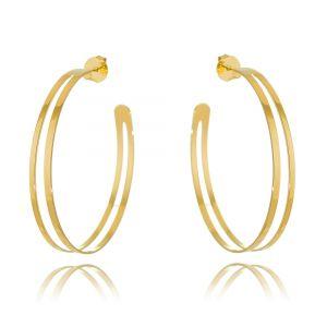 Maxi Argola Dourada Semijoia Fashion Ouro