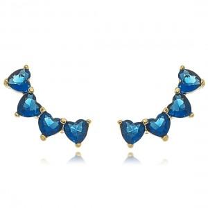 Mini Ear Cuff Corações de Zircônia Azul Safira Semijoia em Ouro 18K
