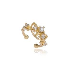 Piercing de Orelha Cravejado de Zircônia Branca Coroa Semijoia em Ouro 18K