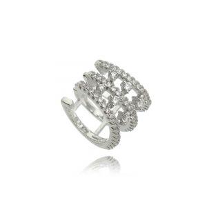 Piercing Falso de Zircônia Cristal Semijoia Fashion Ródio Branco