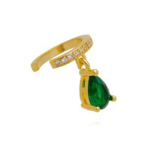 Piercing Falso Esmeralda de Gotinha Zircônia Semijoia Ouro