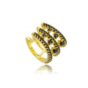 Piercing Falso Luxuoso Cravejado de Zircônia Preta Semijoia Ouro