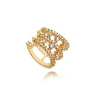 Piercing Falso Ouro Rosa Zircônia Cristal Semijoia de Luxo
