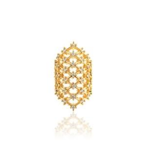 Piercing Falso Rendado Luxo Cravejado de Zircônia Semijoia em Ouro 18K