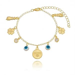 Pulseira Amuletos da Sorte com Zircônia Branca em Ouro 18K