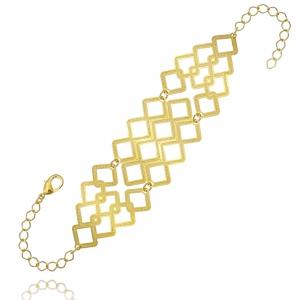 Pulseira Bracelete Trabalhada Semijoia em Ouro 18K