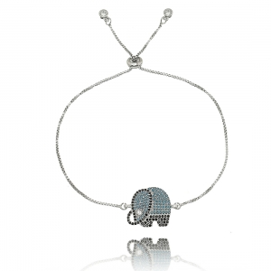 Pulseira com Pingente Elefante Sorte Zircônias Preta, Turquesa e Cristal Semijoia Ródio Branco