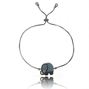 Pulseira de Elefante Ajustável Amuleto da Sorte Zircônia Turquesa Semijoia Ródio Negro