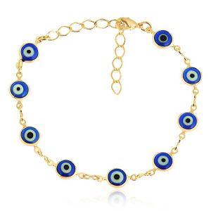 Pulseira de Olho Grego Azul Semijoia em Ouro 18K
