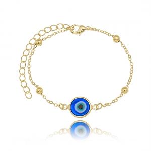 Pulseira Olho Grego Dourada Azul Semijoia em Ouro 18K