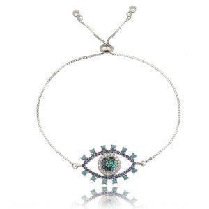 Pulseira Olho Grego Mosaico em Madrepérola e Zircônias Cristal e Turquesa Semijoia Luxo Ródio Branco