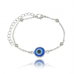 Pulseira Olho Grego ou Olho Turco Azul Semijoia Ródio Branco
