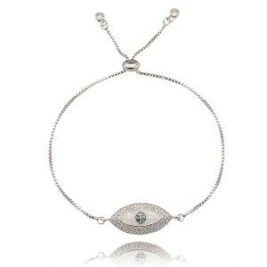 Pulseira Olho Grego Regulável Zircônia Branca e Madrepérola Semijoia em Ródio Branco