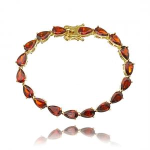 Pulseira Riviera Gota Vermelha Garnet Dourada Semijoia Ouro