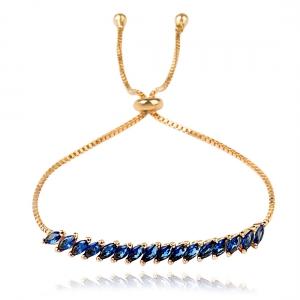 Pulseira Riviera Navete Regulável Semijoia em Ouro 18K com Zircônia Azul Safira