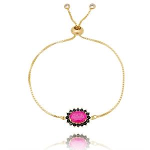 Pulseira Soloyou Oval Rosa Pink e Zircônia Preta Semijoia Ouro 18K