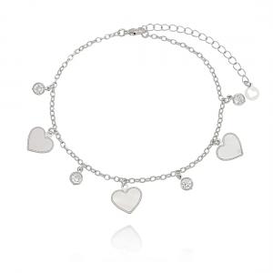 Tornozeleira Coração e Zircônia Cristal em Ródio Branco