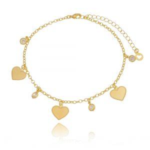 Tornozeleira de Coração com Zircônia Branca em Ouro 18K