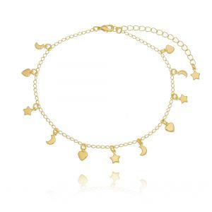 Tornozeleira de Coração, Estrela e Lua Dourada em Ouro 18K