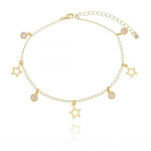 Tornozeleira de Estrelas e Zircônia Branca em Ouro 18K
