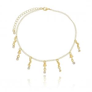 Tornozeleira de Zircônia Branca com Estrelas e Lua Semijoia Ouro 18K