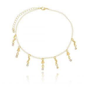 Tornozeleira de Zircônia Branca com Estrelas e Lua em Ouro 18K