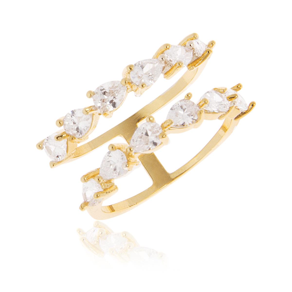 Anel Aro Duplo de Zircônia Branca Semijoia em Ouro 18K  - Soloyou