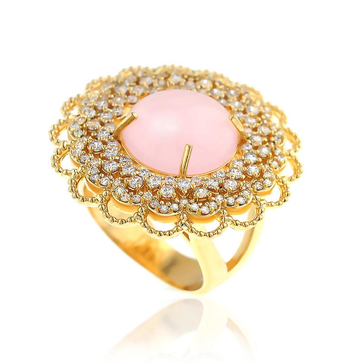 Anel Cabochão Luxo Semijoia em Ouro 18K com Micro Zircônia Branca e Pedra Natural Jade Rosa  - SOLOYOU