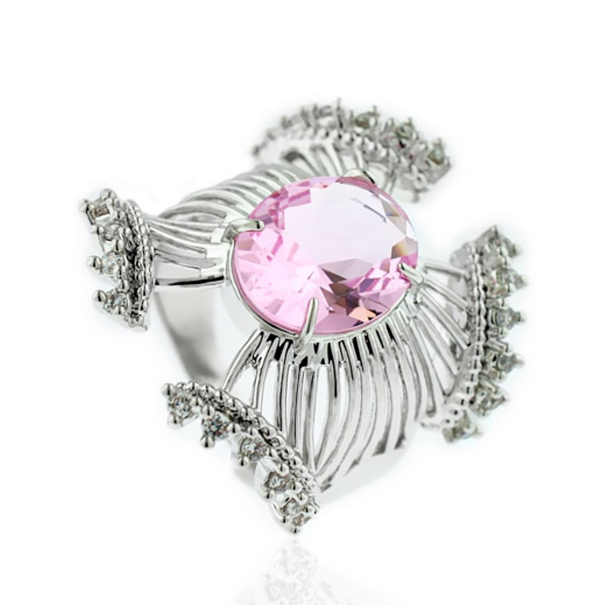 Anel de Filigranas Luxo Semijoia em Ródio Branco com Zircônia Branca e Cristal Rosa Safira  - Soloyou