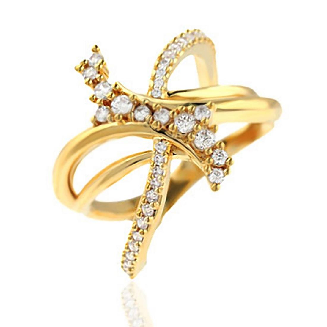 Anel de Laço Semijoia em ouro 18K com Zircônia Branca  - Soloyou
