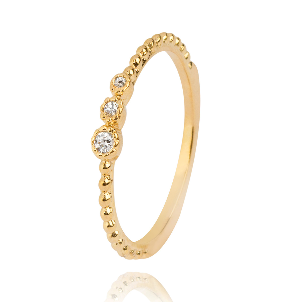 Anel Delicado com Pedra de Zircônia Branca Semijoia em Ouro 18K  - Soloyou