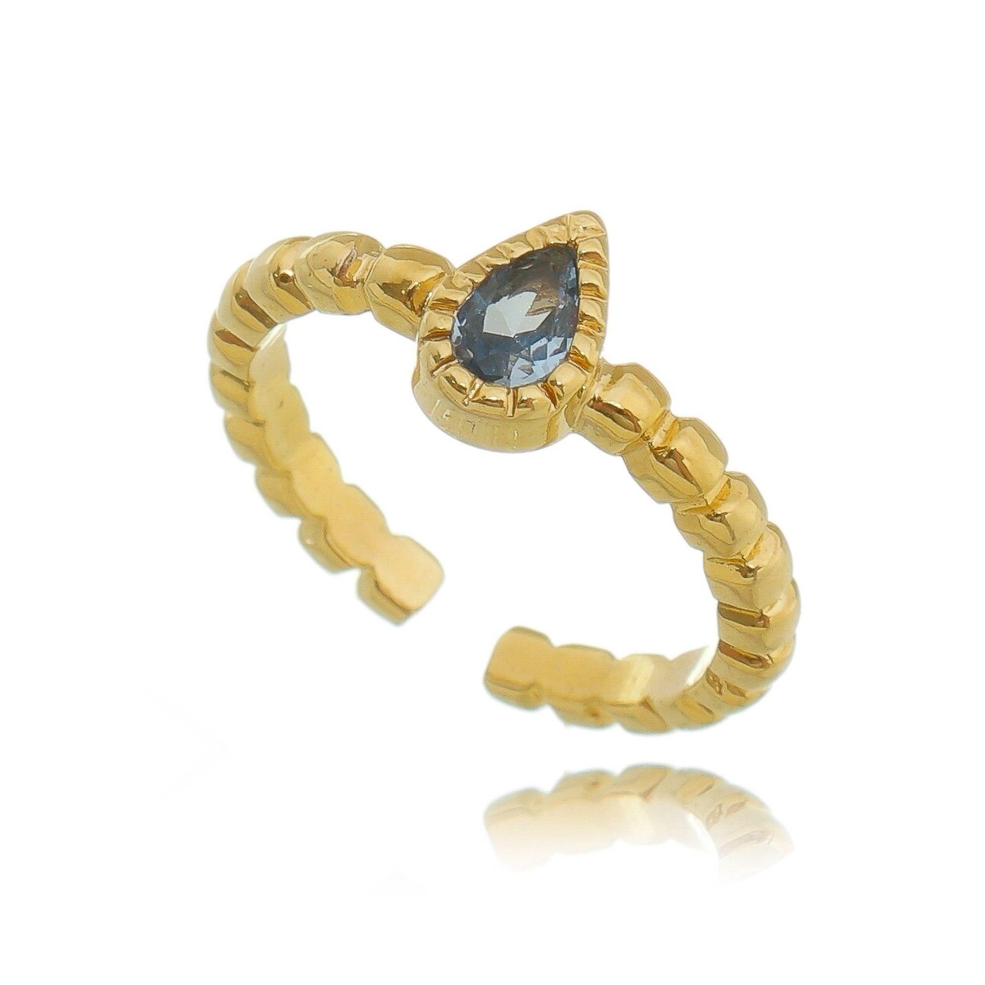 Anel Falange Ajustável  Gota de Cristal Turmalina Azul Semijoia em Ouro 18K  - Soloyou