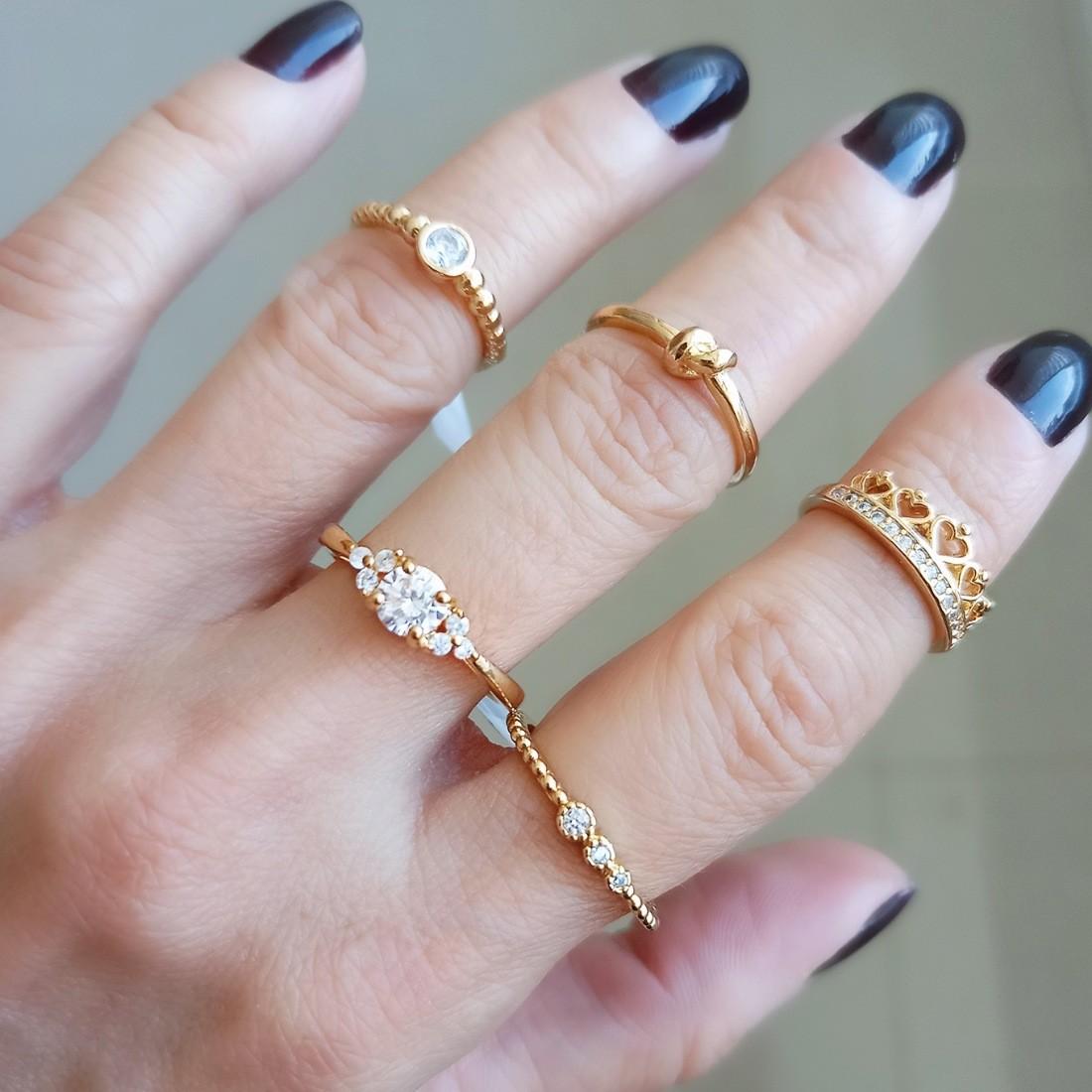 Anel Falange Coroa de Micro Zircônia Branca Brilhante Semijoia em Ouro 18K  - Soloyou