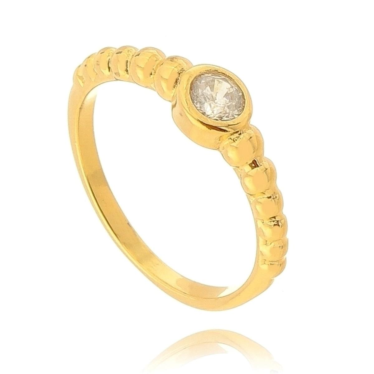 Anel Falange Ponto de Luz de Zircônia Branca Semijoia em Ouro 18K  - Soloyou